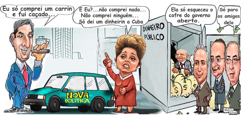 Charge color e dilma