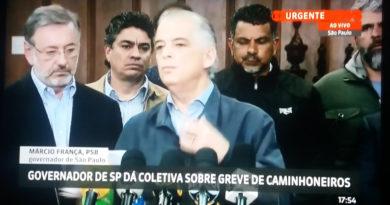Governador de SP Márcio França entra como interlocutor e consegue confiança com os reais lideres dos caminhoneiros.