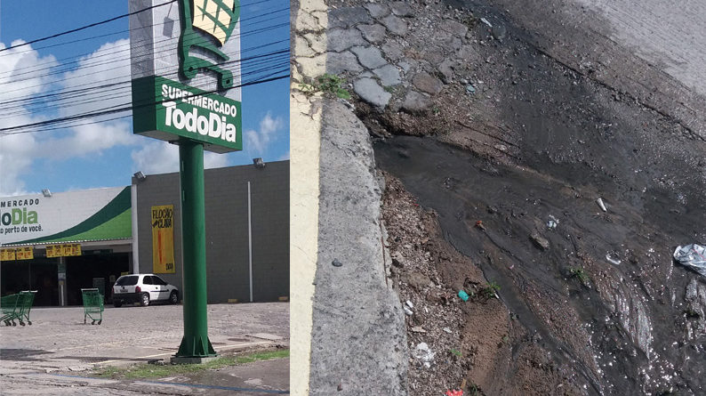 Moradores ficam indignados com água de fossa do Supermercado Todo Dia correndo a céu aberto.